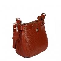 کیف زنانه طرح چهارخانه سوزنی چرم طبیعی